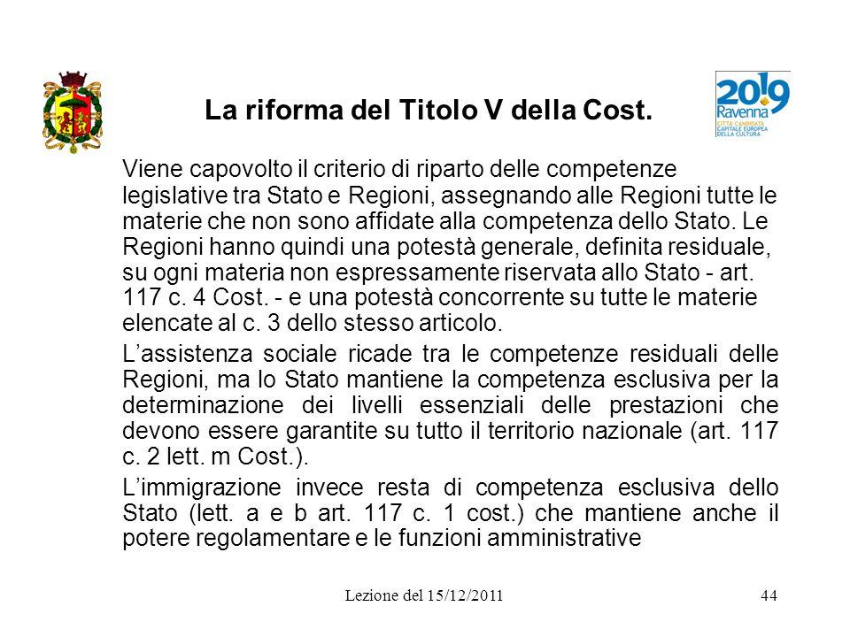 La riforma del Titolo V della Cost.