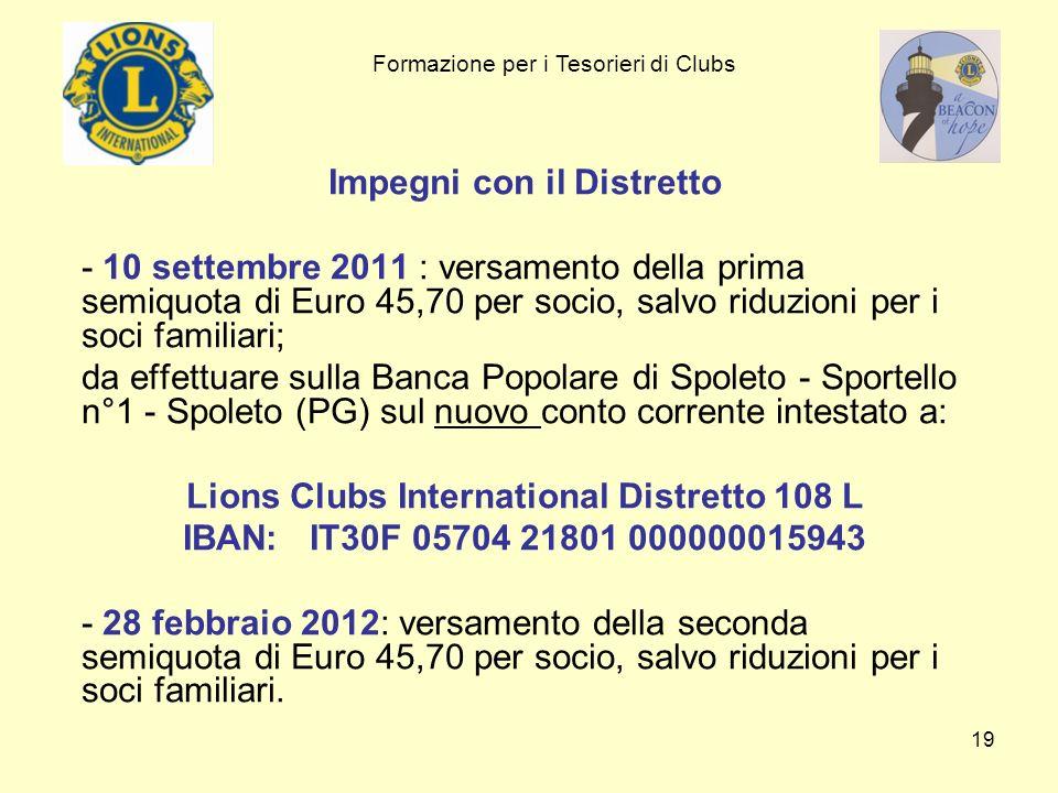 Impegni con il Distretto Lions Clubs International Distretto 108 L