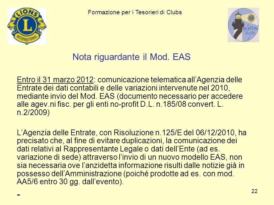 Nota riguardante il Mod. EAS