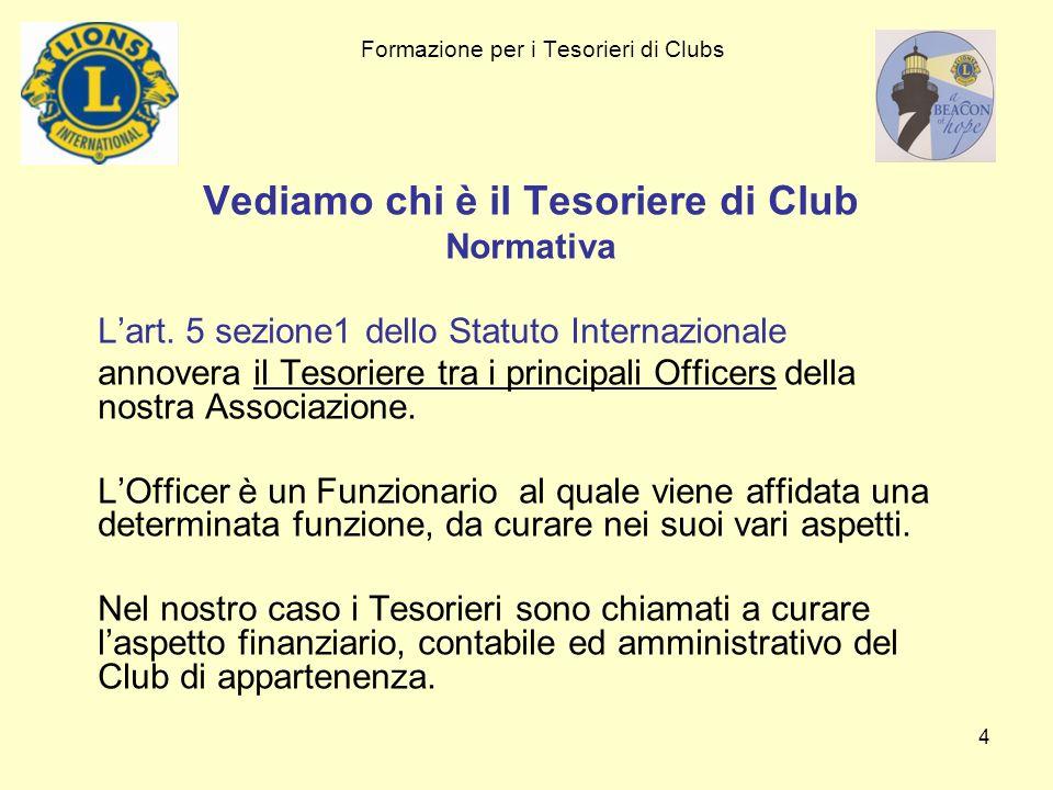 Formazione per i Tesorieri di Clubs