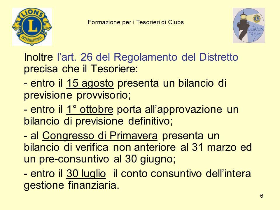 entro il 15 agosto presenta un bilancio di previsione provvisorio;