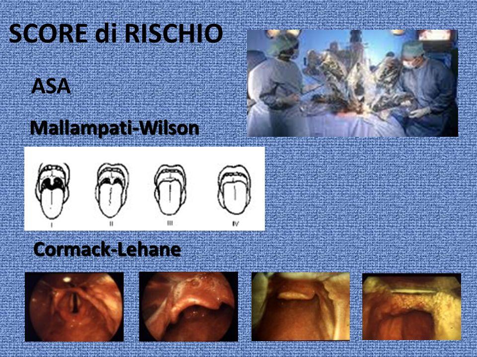 SCORE di RISCHIO ASA Mallampati-Wilson Cormack-Lehane