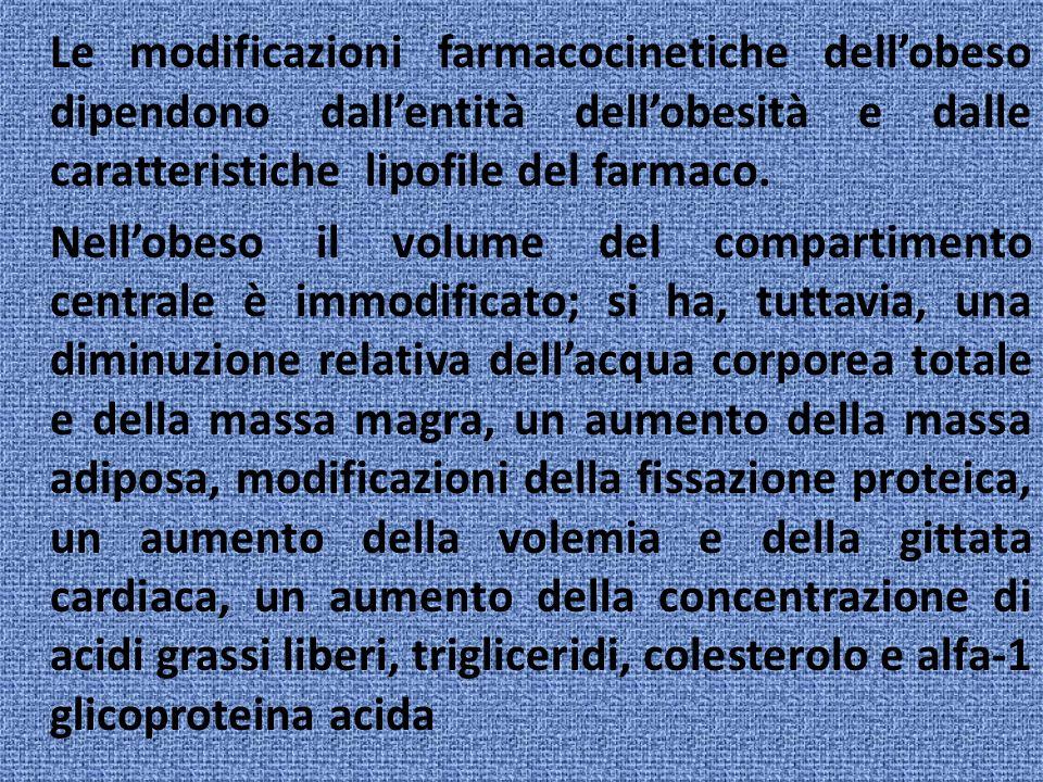 Le modificazioni farmacocinetiche dell'obeso dipendono dall'entità dell'obesità e dalle caratteristiche lipofile del farmaco.