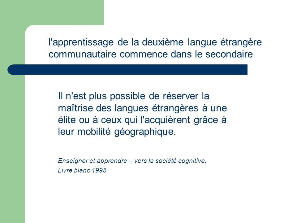 l apprentissage de la deuxième langue étrangère communautaire commence dans le secondaire