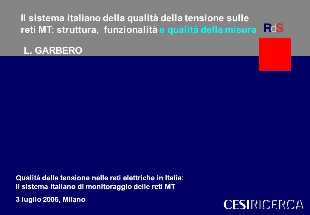 Il sistema italiano della qualità della tensione sulle