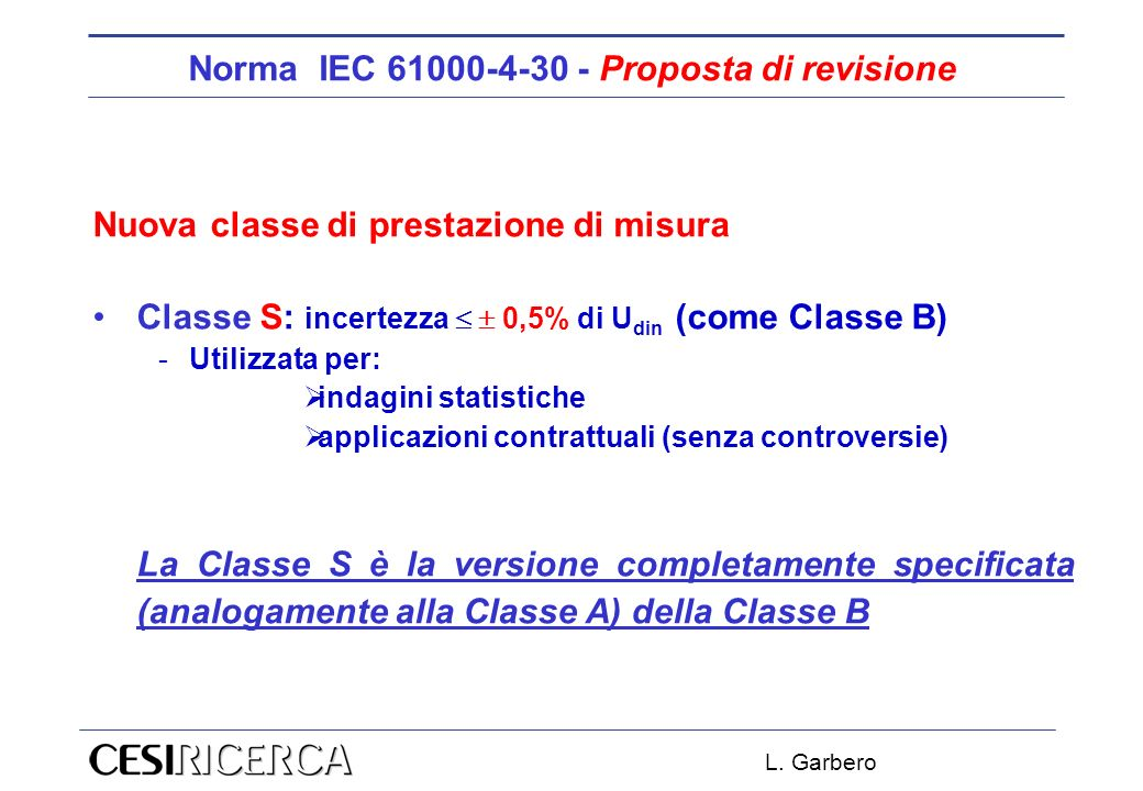 Norma IEC 61000-4-30 - Proposta di revisione