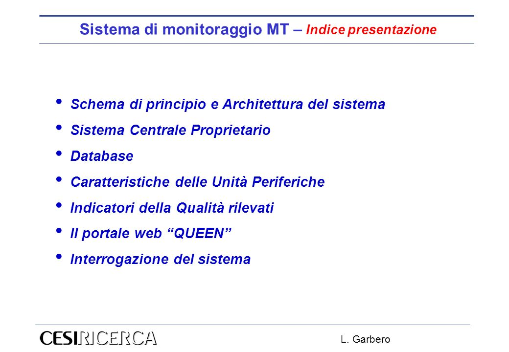 Sistema di monitoraggio MT – Indice presentazione