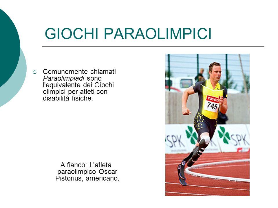 A fianco: L atleta paraolimpico Oscar Pistorius, americano.