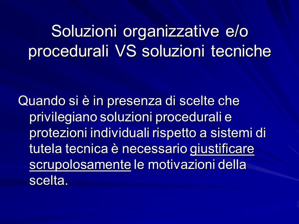 Soluzioni organizzative e/o procedurali VS soluzioni tecniche