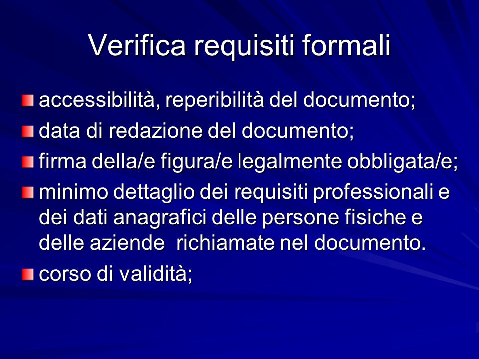 Verifica requisiti formali