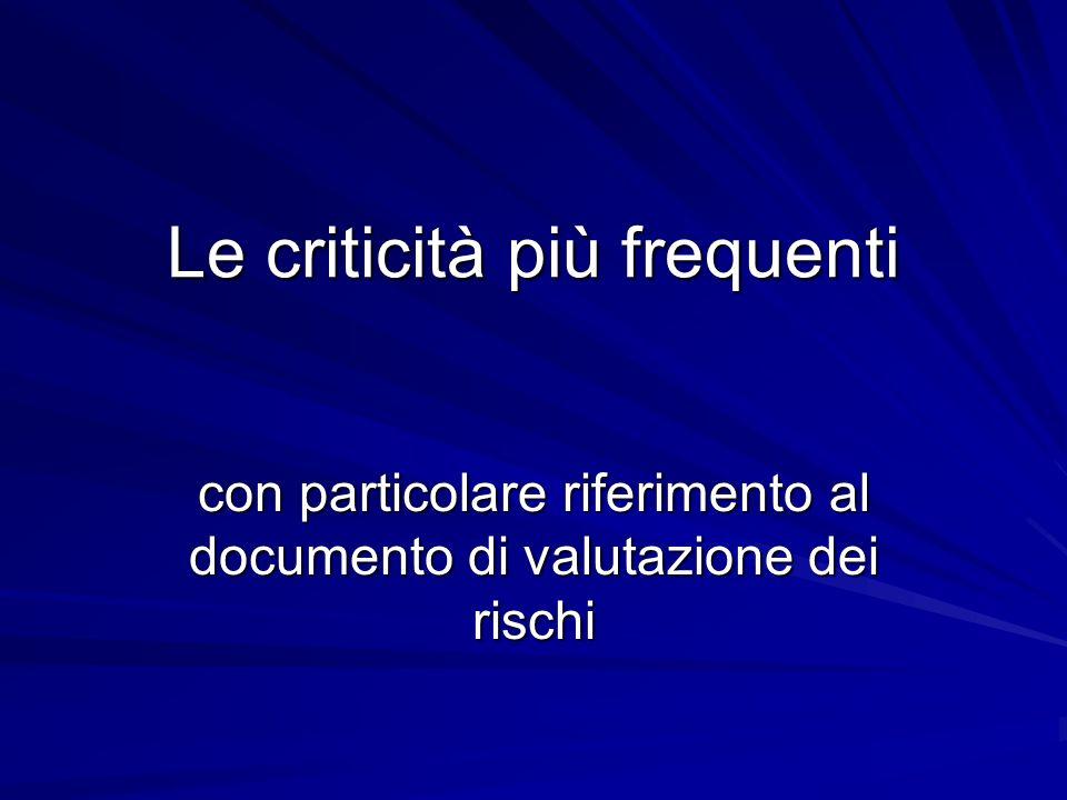 Le criticità più frequenti