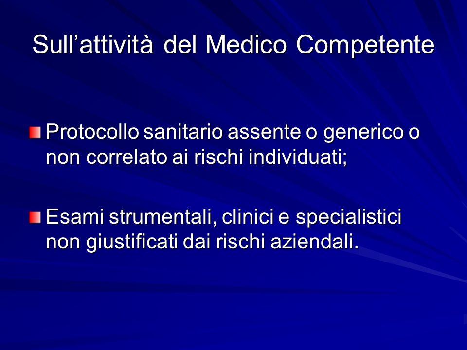 Sull'attività del Medico Competente