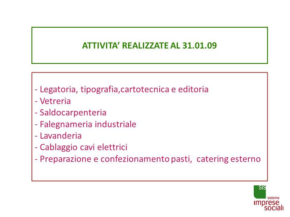 ATTIVITA' REALIZZATE AL 31.01.09