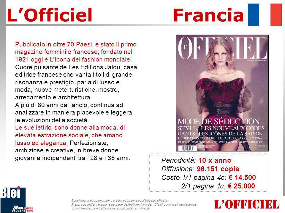 L'Officiel Francia L'OFFICIEL Periodicità: 10 x anno