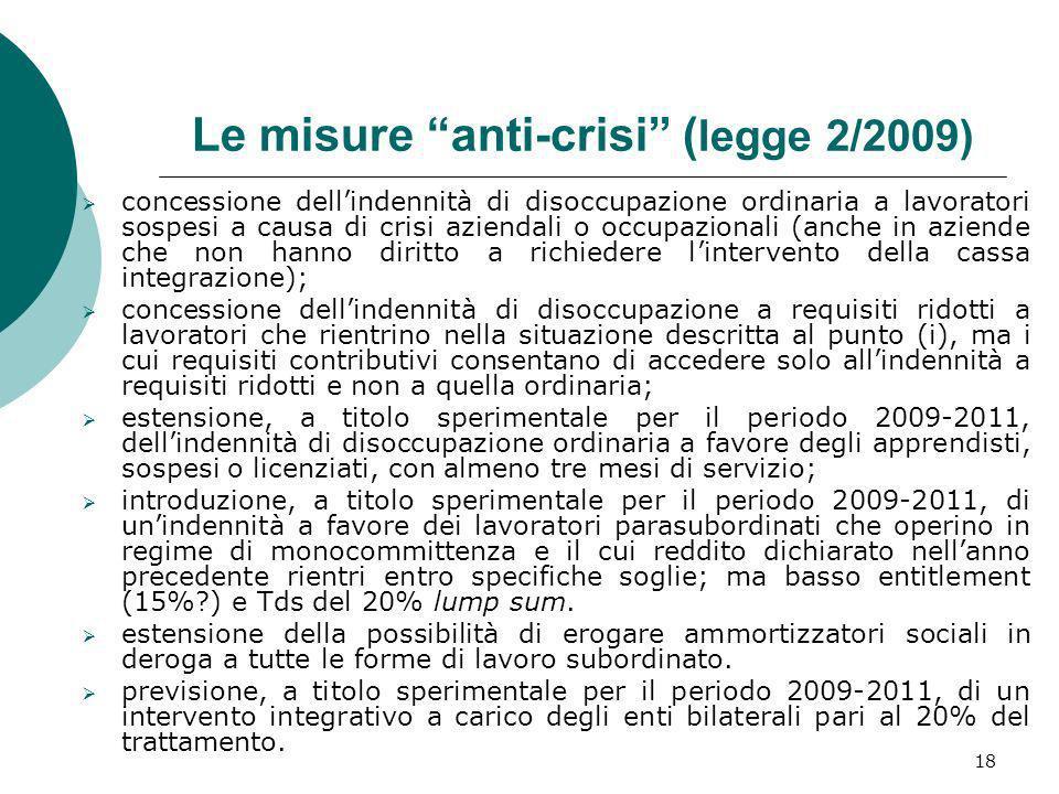 Le misure anti-crisi (legge 2/2009)