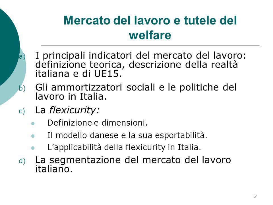 Mercato del lavoro e tutele del welfare