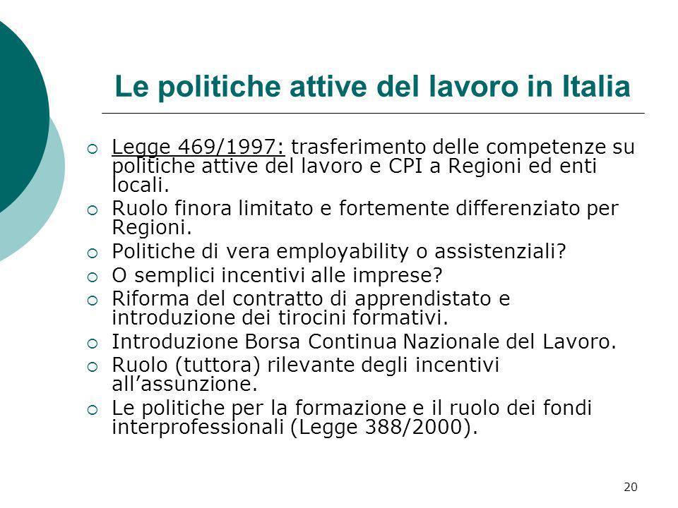 Le politiche attive del lavoro in Italia
