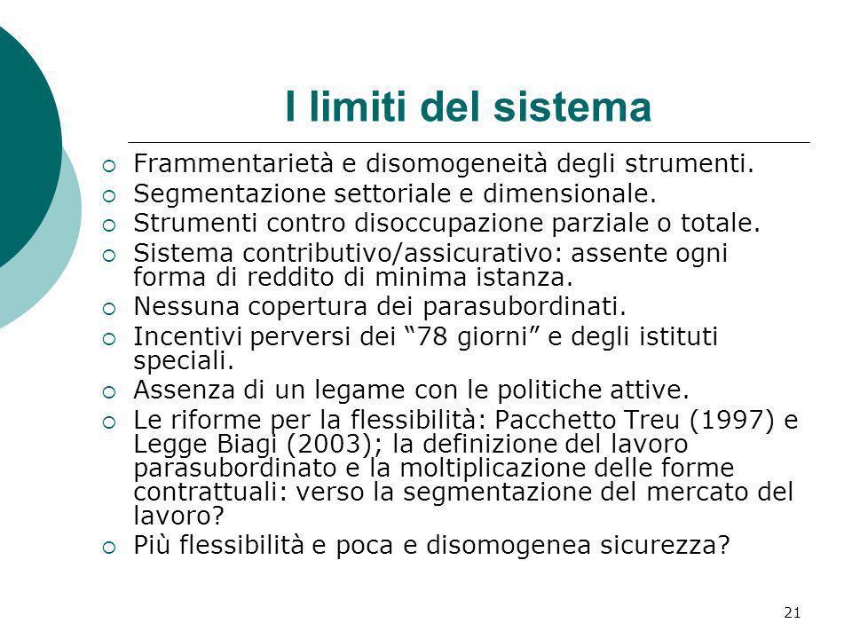 I limiti del sistema Frammentarietà e disomogeneità degli strumenti.