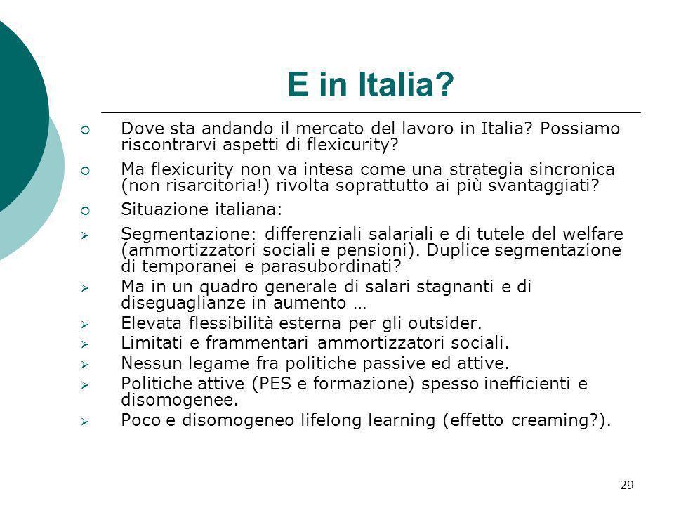 E in Italia Dove sta andando il mercato del lavoro in Italia Possiamo riscontrarvi aspetti di flexicurity