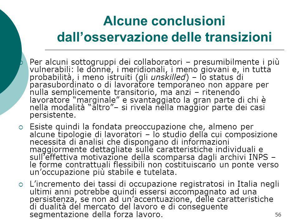 Alcune conclusioni dall'osservazione delle transizioni