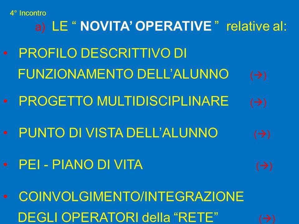 a) LE NOVITA' OPERATIVE relative al: PROFILO DESCRITTIVO DI