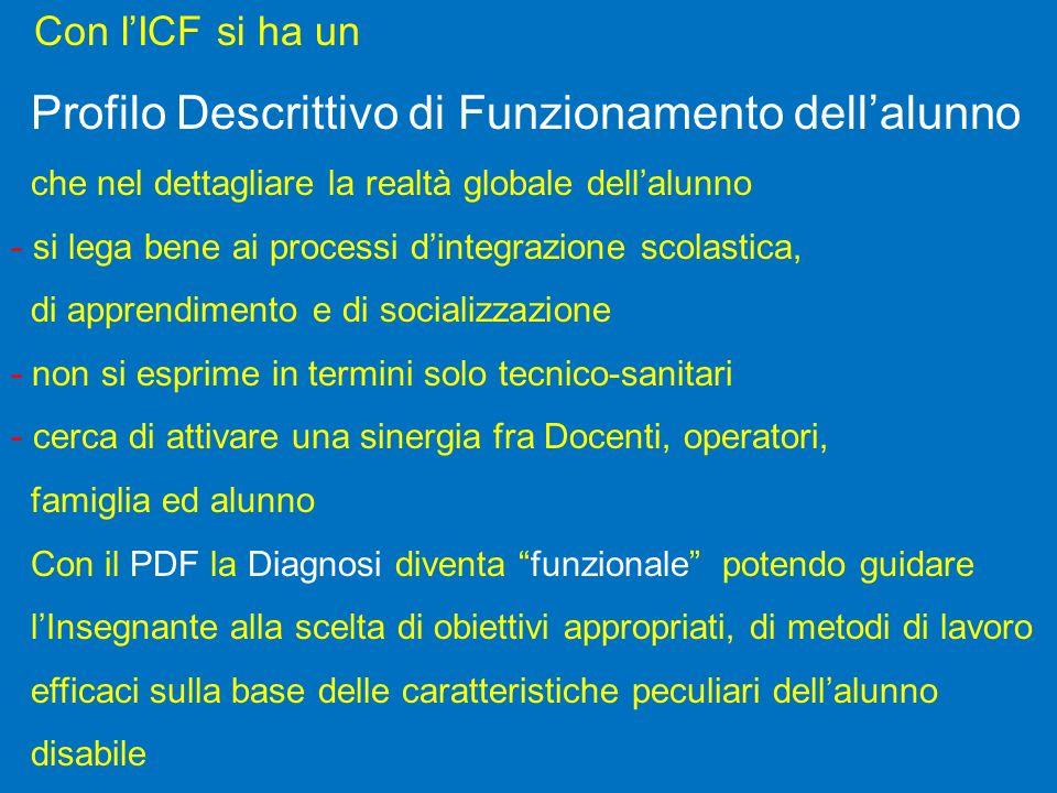 Con l'ICF si ha un Profilo Descrittivo di Funzionamento dell'alunno
