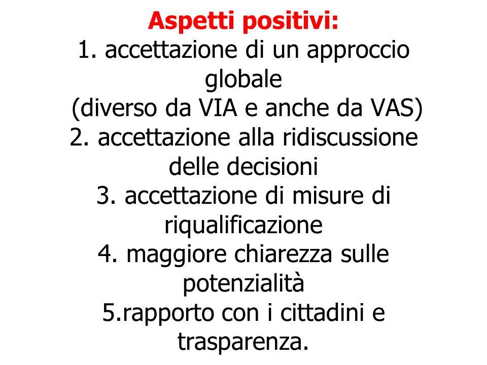 Aspetti positivi: 1. accettazione di un approccio globale (diverso da VIA e anche da VAS) 2.
