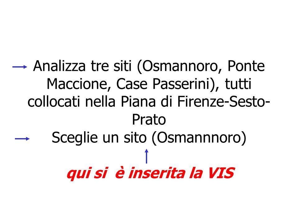 Analizza tre siti (Osmannoro, Ponte Maccione, Case Passerini), tutti collocati nella Piana di Firenze-Sesto-Prato Sceglie un sito (Osmannnoro) qui si è inserita la VIS