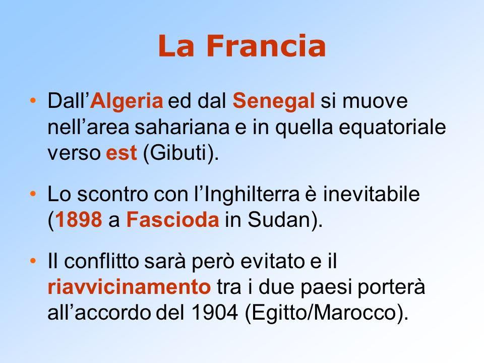 La FranciaDall'Algeria ed dal Senegal si muove nell'area sahariana e in quella equatoriale verso est (Gibuti).