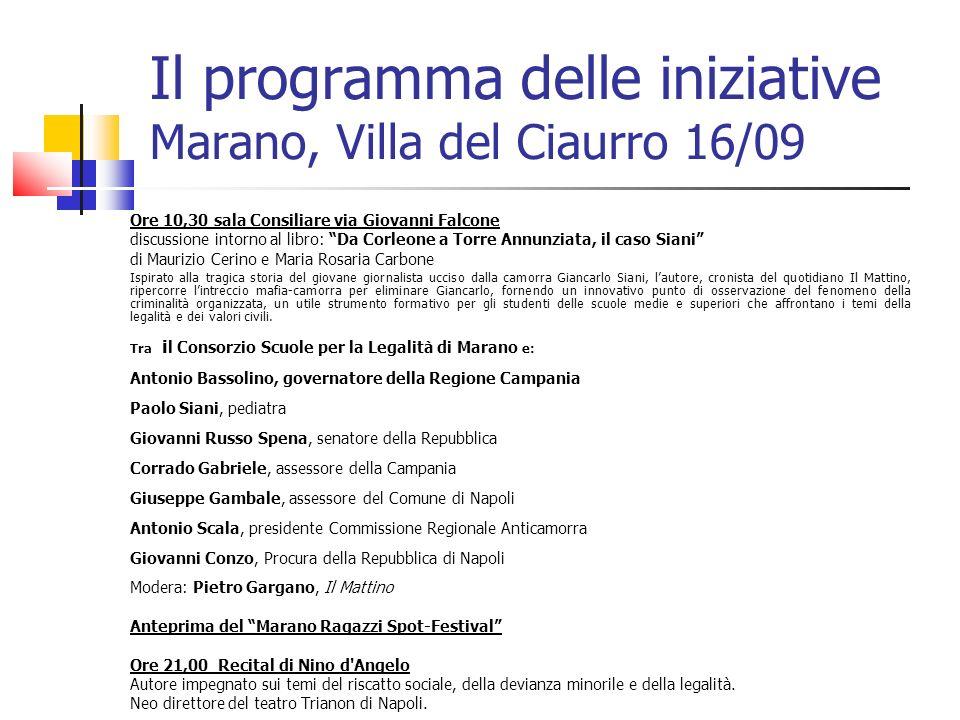 Il programma delle iniziative Marano, Villa del Ciaurro 16/09