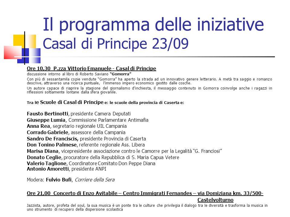 Il programma delle iniziative Casal di Principe 23/09