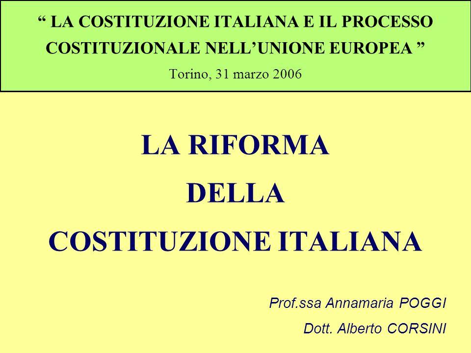 LA RIFORMA DELLA COSTITUZIONE ITALIANA