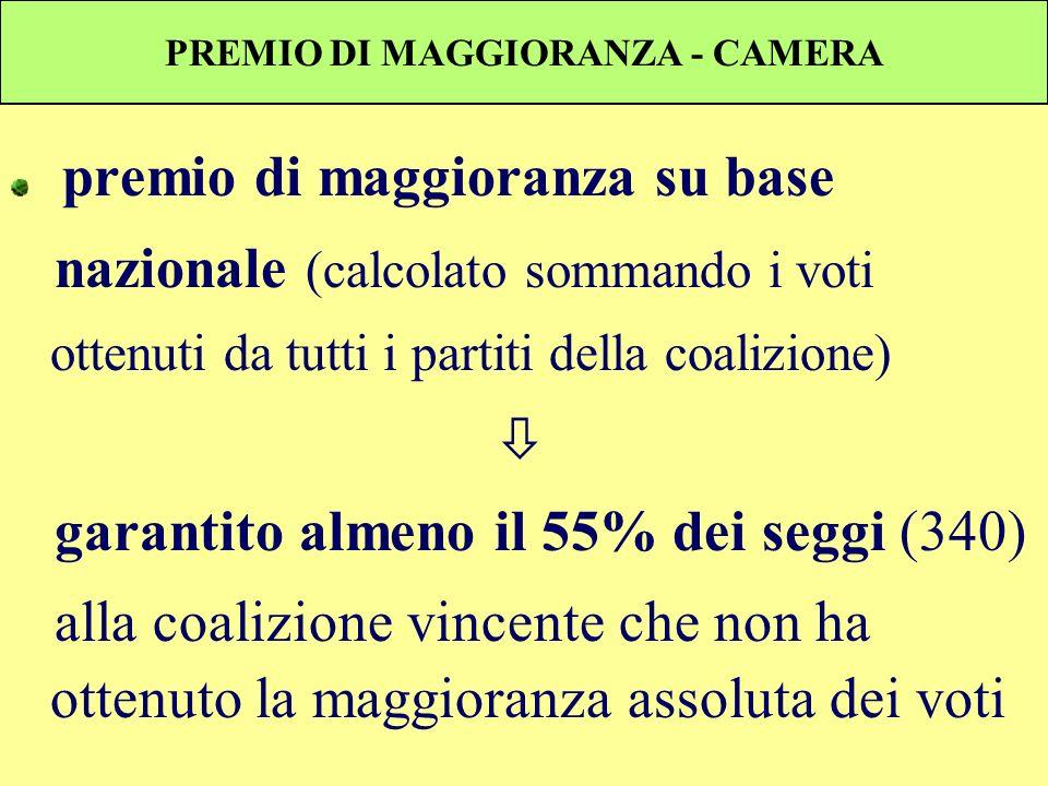PREMIO DI MAGGIORANZA - CAMERA