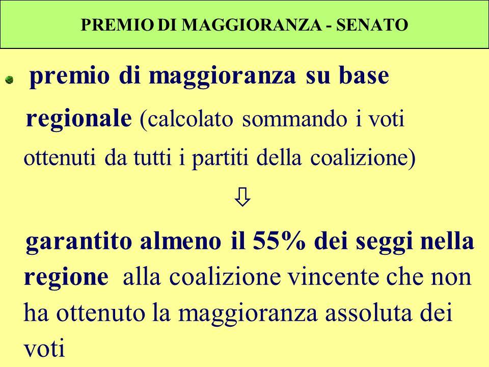 PREMIO DI MAGGIORANZA - SENATO