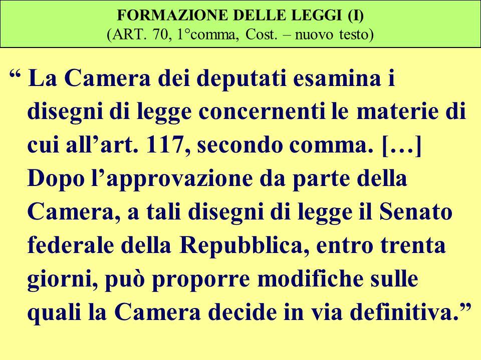 FORMAZIONE DELLE LEGGI (I) (ART. 70, 1°comma, Cost. – nuovo testo)