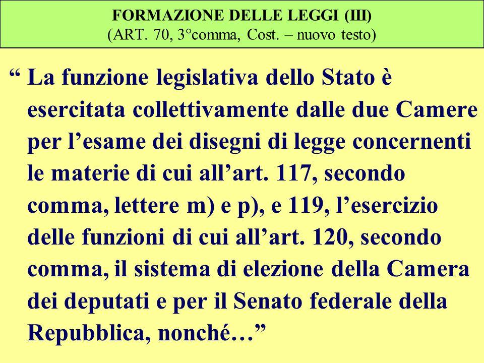 FORMAZIONE DELLE LEGGI (III) (ART. 70, 3°comma, Cost. – nuovo testo)