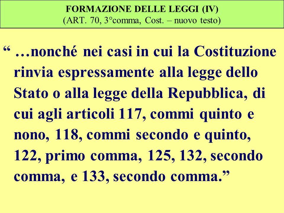 FORMAZIONE DELLE LEGGI (IV) (ART. 70, 3°comma, Cost. – nuovo testo)