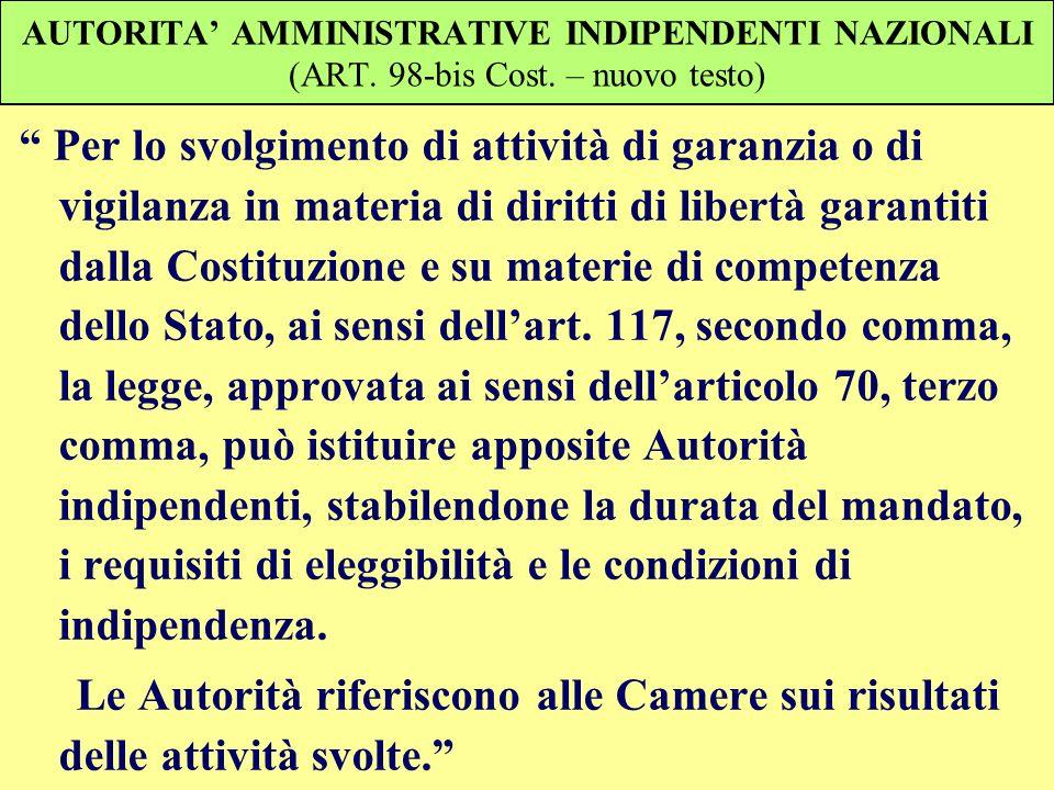 AUTORITA' AMMINISTRATIVE INDIPENDENTI NAZIONALI (ART. 98-bis Cost