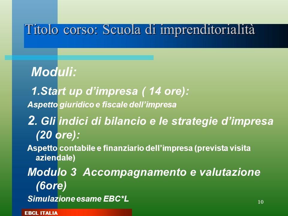 Titolo corso: Scuola di imprenditorialità