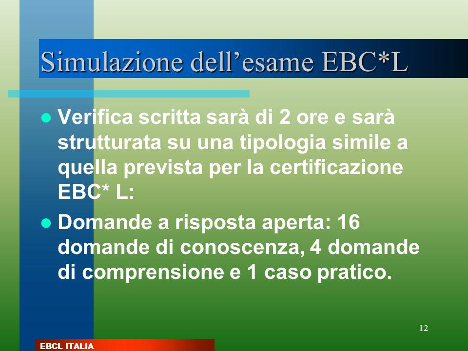 Simulazione dell'esame EBC*L