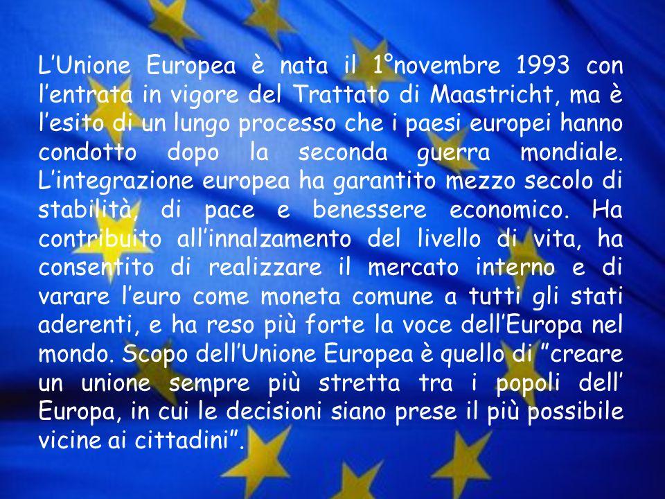 L'Unione Europea è nata il 1°novembre 1993 con l'entrata in vigore del Trattato di Maastricht, ma è l'esito di un lungo processo che i paesi europei hanno condotto dopo la seconda guerra mondiale.