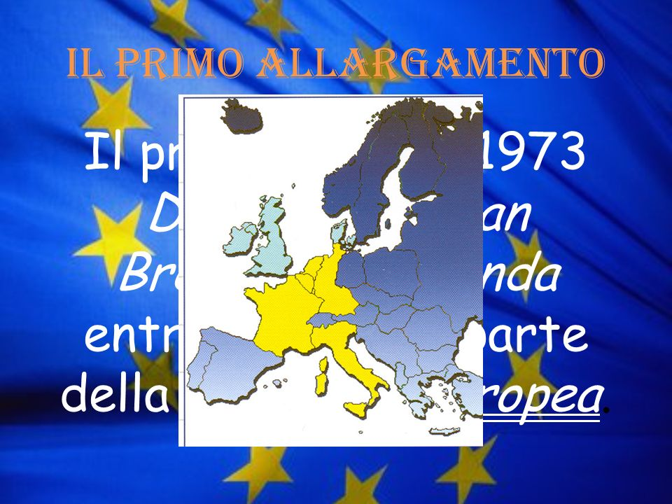 Il primo allargamento Il primo gennaio 1973 Danimarca, Gran Bretagna e Irlanda entrarono a far parte della Comunità Europea.