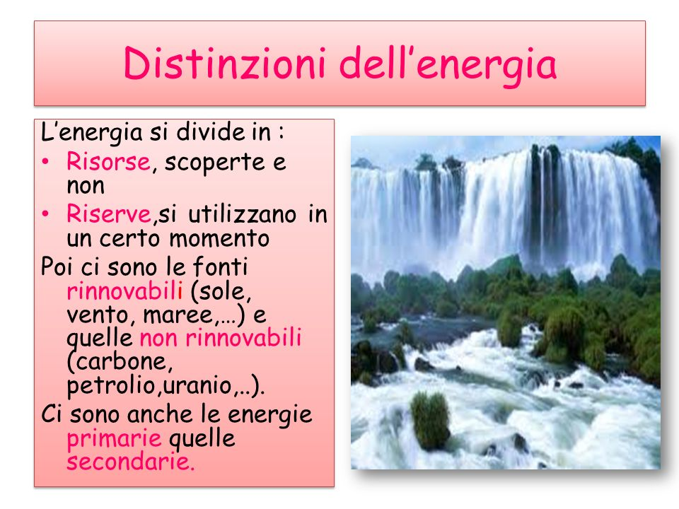 Distinzioni dell'energia