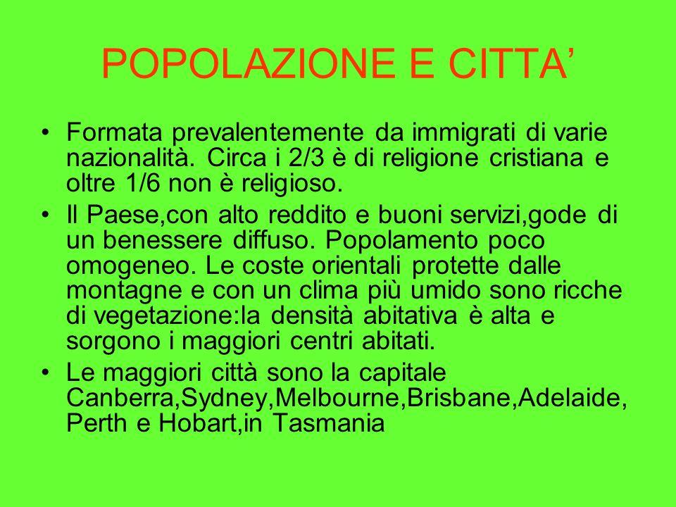 POPOLAZIONE E CITTA' Formata prevalentemente da immigrati di varie nazionalità. Circa i 2/3 è di religione cristiana e oltre 1/6 non è religioso.