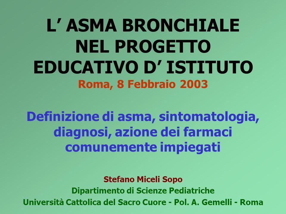 L' ASMA BRONCHIALE NEL PROGETTO EDUCATIVO D' ISTITUTO Roma, 8 Febbraio 2003
