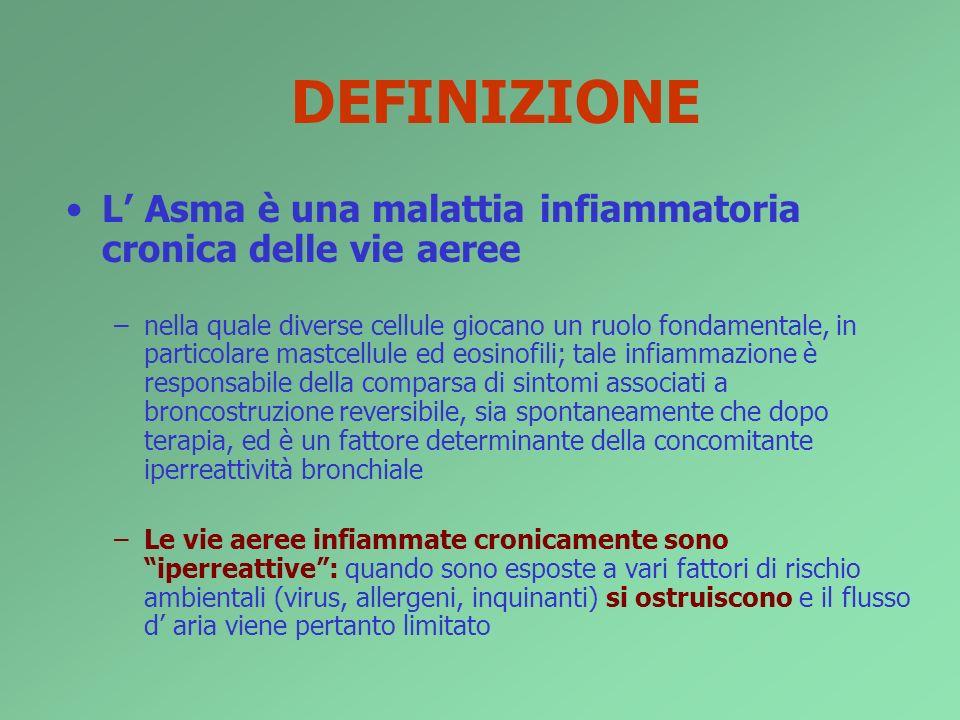 DEFINIZIONEL' Asma è una malattia infiammatoria cronica delle vie aeree.