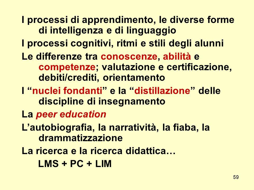 I processi di apprendimento, le diverse forme di intelligenza e di linguaggio