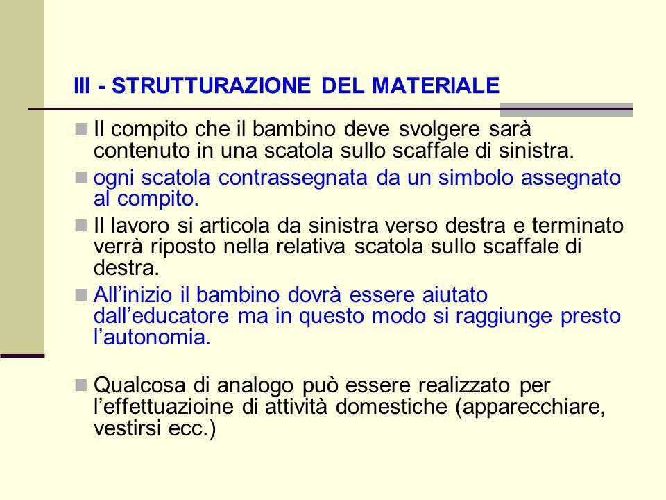 III - STRUTTURAZIONE DEL MATERIALE