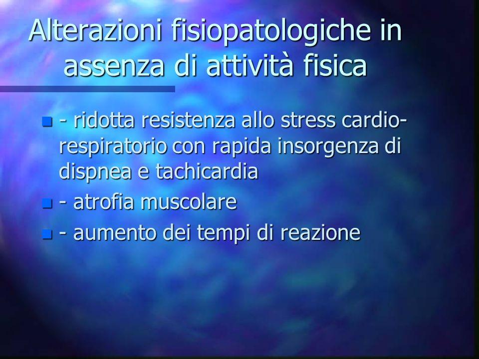 Alterazioni fisiopatologiche in assenza di attività fisica