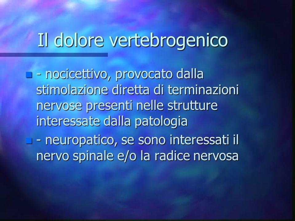 Il dolore vertebrogenico